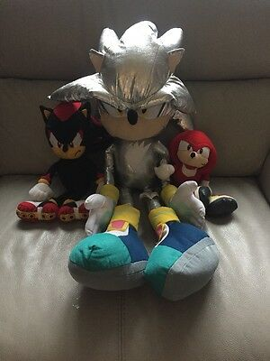 Sonic The Hedgehog Large Sliver Plush Teddy & Shadow And Knuckles Soft Toys