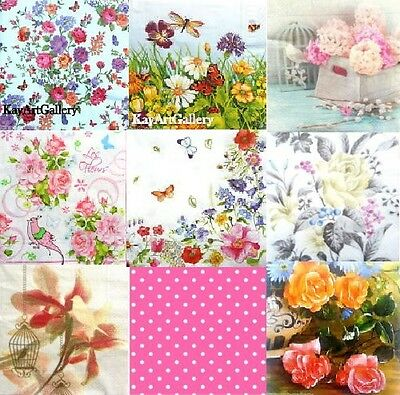 Pack of 20 Lunch Table  Paper Napkins Party Decoupage Craft Floral Flowers mix 1