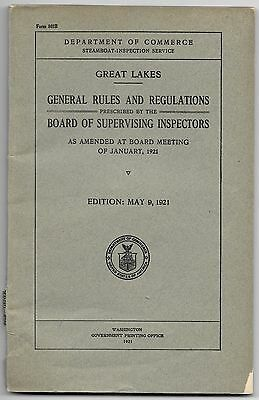 1921 Steamboat Inspection Service Great Lakes General Rules and Regulations