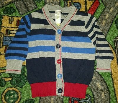 BABY BOYS Sz 00 blue grey & red DYMPLES knit jacket CUTE! COOL!
