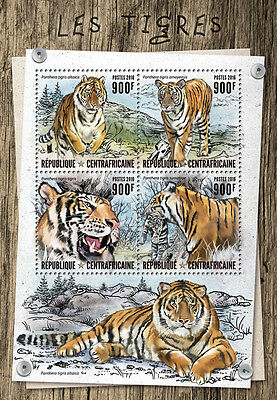 CENTRALAFRICA 2016 ** Tigers Tiger M/S #805a