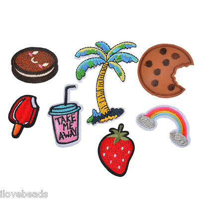 7PCs Cartoon Trees Cookie Milk Embroidered Iron Sew On Patch Dress Jeans Badge