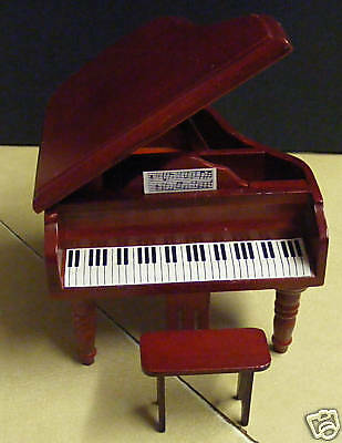 1:12 Scale Wooden Piano & Stool Dolls House Miniature Instrument Accessories 106