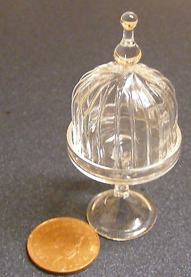 1:12 Raised Fluted Glass Cake Stand Dolls House Miniature Kitchen Accessory LC