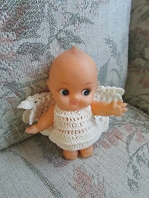 """Plastic Kewpie with White Handmade Angel Outfit, approx 51/2"""" tall"""