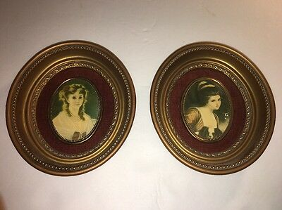 Pair of Vintage Victorian Art Pictures ~ A Cameo Creation Victorian Ladies L@@k