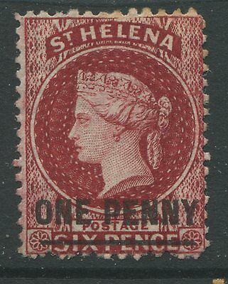 St. Helena 1864 1d on 6d red mint o.g. hinged