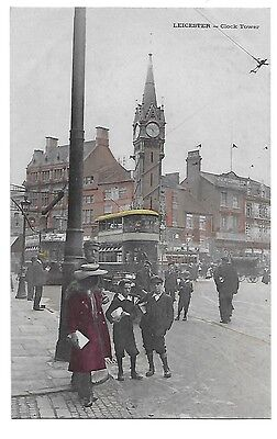 LEICESTER Clock Tower Early Postcard Tramway Children Colour Leicestershire