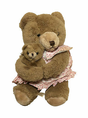 Vintage Schmid MUSICAL COLLECTIBLES BEAR HOLDING HER BABY 1984 Works Plush
