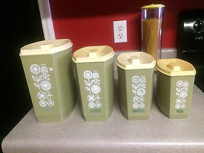 Avocado Olive Green Plastic Canister 4-pc Set White Flowers  60s 70s Vintage