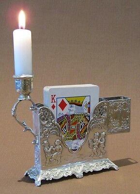 Antique Solid Silver Rococo Style Playing Card Table Stand & Candlestick c.1900