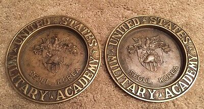2 Vintage United States Military Academy SEOUL KOREA Brass Wall Plaques
