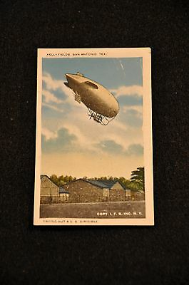 Wwi Air Corps 'trying Out A U.s. Dirigible' Kelly Fields San Antonio Tx Postcard