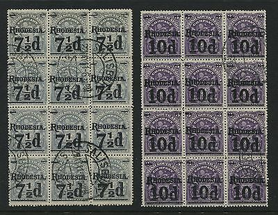 Rhodesia 1900 Overprinted Surcharges used in large blocks of 12, Scott #90, 91a