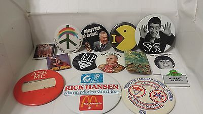 Lot Of Pinbacks Pins 60's 70's 80's Soupy Sales Pac Man Pope John Lennon Carson