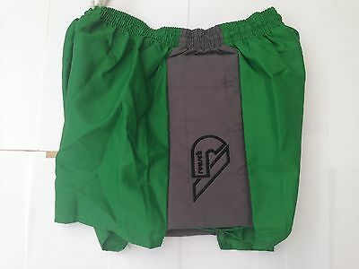 Shiny Nylon Retro Goalie shorts green with contrast padded sides 34""