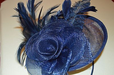 NEW Navy Blue large sinamay hatinator fascinator aliceband wedding prom