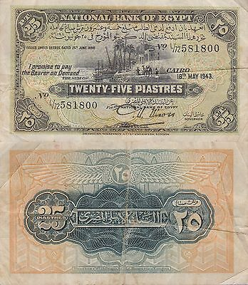 Egypt 25 Piastres Banknote,18.5.1943 Very Fine Condition Cat#10-C-1800