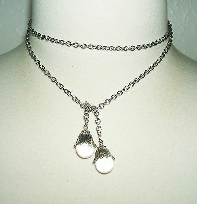 POOLS OF LIGHT Lariat Necklace ROCK CRYSTAL QUARTZ ORBS Art Nouveau Silver Plate