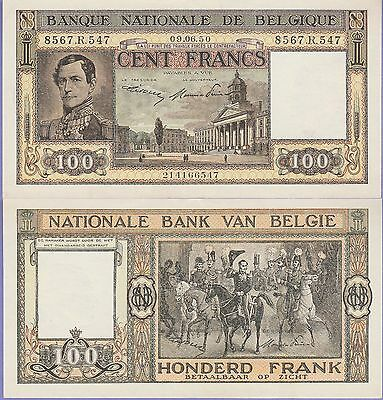 Belgium 100 Francs Banknote,9.6.1950 Uncirculated Condition Cat#126-547