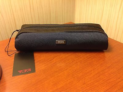 Nwt Tumi Alpha  Electronic Cord Long Pouch Accessory Bag Navy Blue Dark Brown