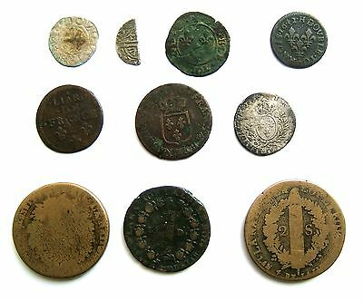 Early French Low Grade Silver & Copper Coins: 13th Century - 1793