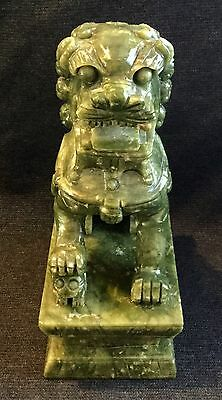 "7"" Vintage Chinese Hand Carved Natural Green Jade Fu Dog Guardian Lion - Rare"