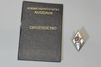 1953 Bulgarian Military-Political Academy Officer Certificate And Silver Rhomb
