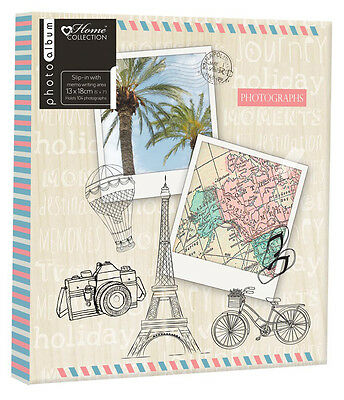 104 Slot Photo Album 5x7 Inch Travel Holiday Photograph Book Memories Chic Case