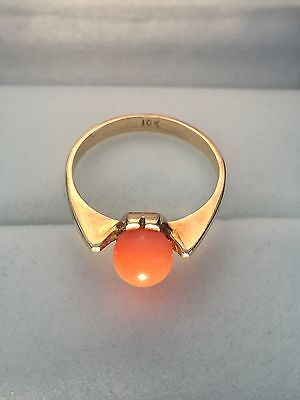 10ct 10k Retro Vintage Gold And Coral Ring Size O 1/2