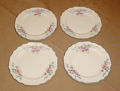 """W S George Lido Canarytone Blossoms 6"""" Bread & Butter Plates Lot of 4 Platinum"""