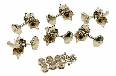 Grover Sta-Tite V97N guitar tuners, 14:1, solid peghead, nickel, butterbean