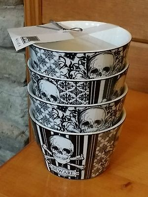 222 Fifth Halloween Skull White Set of 4 Appetizer Snack Bowls Party