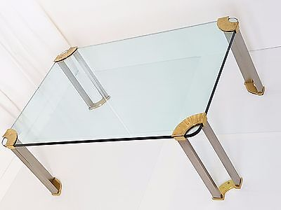 Peter Ghyczy : Coffee Table Rectangular Brass Steel Brush Glass Vintage 1970