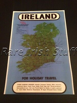 Map Of Ireland & Transport System - Bus Train & Boat Map Irish Government Print
