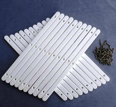 10 Pairs of White Plastic Drawer Runners & Screws for Furniture