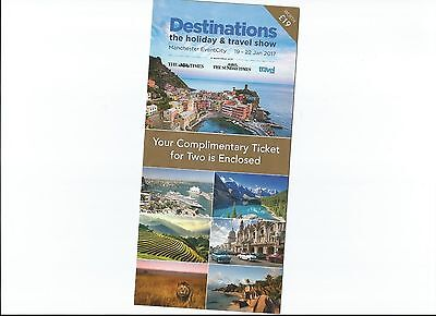 2 Tickets Destinations Travel Show Manchester 19-22 Jan Valid Any Day