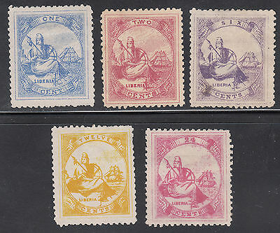 Liberia # 16-20 MINT 1880 Isue Complete Scarce FOUR FULL FRAMES