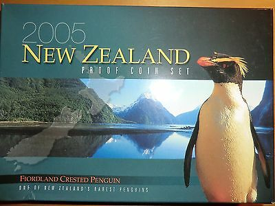 2005 New Zealand Proof Coin Set incl Fiordland Crested Penguin Proof Silver Coin
