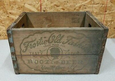 Vintage Frostie Old Fashion Root Beer Soda Wood 12 Bottle Box,Crate