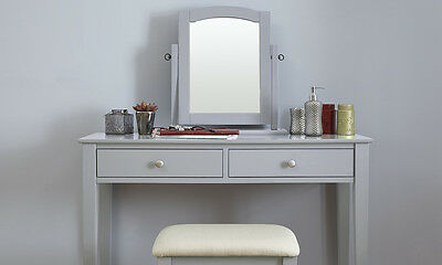 Grey Dressing Table Set with Stool and Adjustable Mirror Bedroom Furniture
