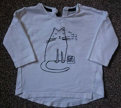 NEXT 'the cat is out the bag' girls long sleeved top, 6-9