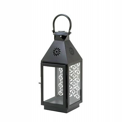 Small Candle Lantern Iron and Glass with Flower Cutouts Top Intricate Accent New