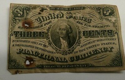 USA 3 cents 1863 banknote.