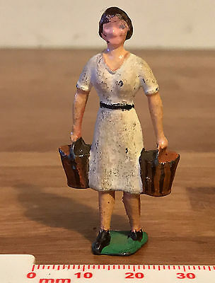 Painted Lead Crescent Toys Farm Woman with Buckets / Milk Pails in each hand