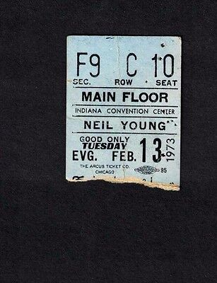 NEIL YOUNG CONCERT TICKET STUB Indiana Convention Center  February 13, 1973