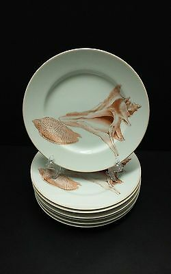 "Fitz & Floyd COQUILLE Shell Salad Plates 7 1/2"" / Set of 7"