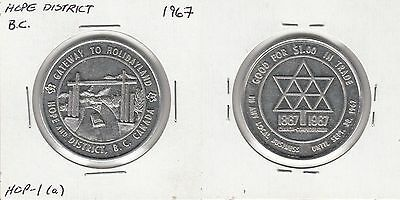 1967 Centennial Canada 38mm medal: Hope District, British Columbia