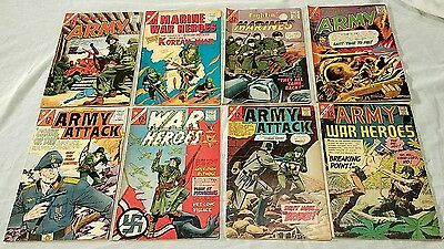 8 1960's WAR COMICS LOT Fightin' ARMY MARINES War Heroes CHARLTON Hitler Attack