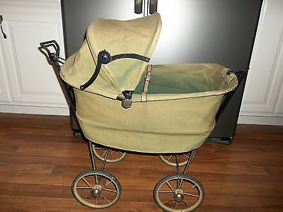 Antique Cast Metal & Green Canvas Cloth Collapsible Baby Carriage Buggy Stroller